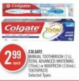 Colgate Manual Toothbrush (1's) - Total Advanced Whitening (70ml) or Maxfresh (150ml)