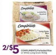 Compliments Parboiled Rice or White Long Grain 900g
