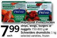 Maple Leaf Prime Chicken Strips - Wings - Burgers Or Nuggets - 750-800 G Or Schneiders Drumsticks - 1 Kg