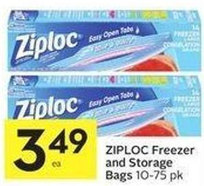 Ziploc Freezer and Storage Bags 10-75 Pk
