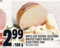 Maple Leaf Natural Selections Roasted Turkey Breast Or Black Forest Ham