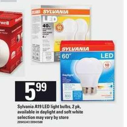 Sylvania A19 Led Light Bulbs - 2 Pk