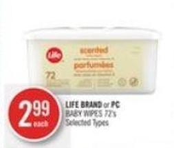 Life Brand or PC Baby Wipes 72's