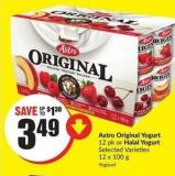 Astro Original Yogurt 12 Pk or Halal Yogurt Selected Varieties 12 X 100 g