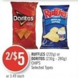 Ruffles (220g) or Doritos (230g - 280g) Chips