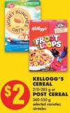 Kellogg's Cereal - 210-285 g or Post Cereal - 340-550 g
