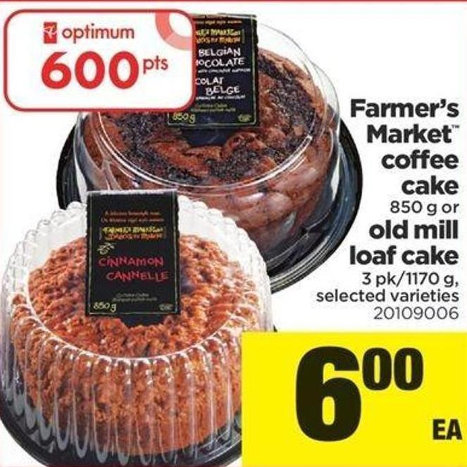 Farmer's Market Coffee Cake - 850 G Or Old Mill Loaf Cake - 3 Pk/1170 G
