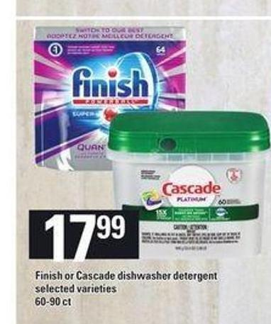 Finish Or Cascade Dishwasher Detergent - 60-90 Ct