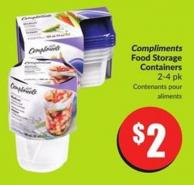 Compliments Food Storage Containers 2-4 Pk