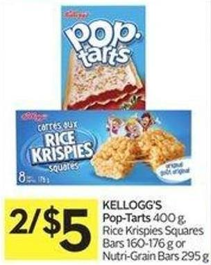 Kellogg's Pop-tarts 400 g - Rice Krispies Squares Bars 160-176 g or Nutri-grain Bars 295 g