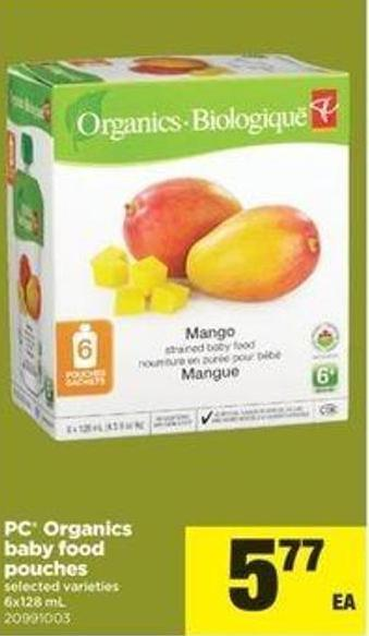 PC Organics Baby Food Pouches - 6x128 mL