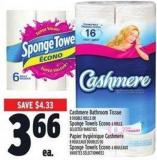 Cashmere Bathroom Tissue 8 Double Rolls Or Sponge Towels Econo 6 Rolls