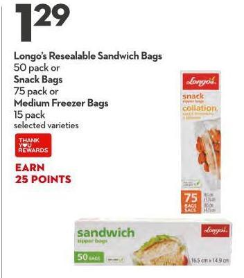 Longo's Resealable Sandwich Bags 50 Pack or Snack Bags