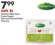 Yorkshire Valley Farms Frozen Organic Extra Lean Ground Turkey 380g
