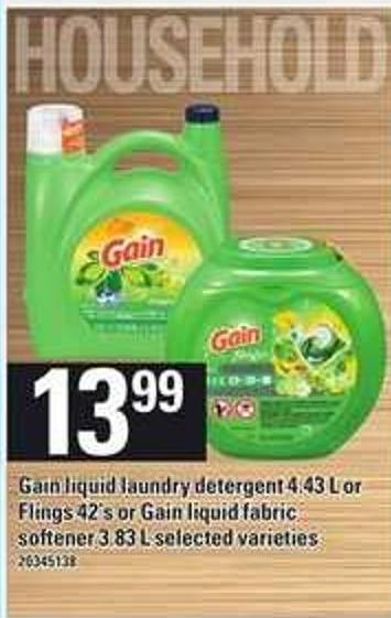 Gain Liquid Laundry Detergent - 4.43 L Or Flings - 42's Or Gain Liquid Fabric Softener - 3.83 L
