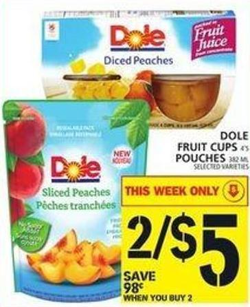 Dole Fruit Cups Or Pouches