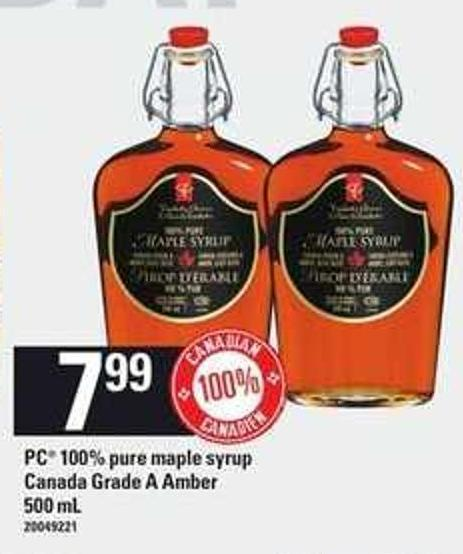 PC 100% Pure Maple Syrup Canada Grade A Amber 500 mL