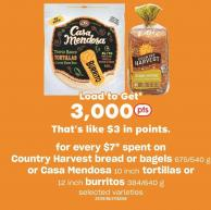 Country Harvest Bread Or Bagels 675/540 G Or Casa Mendosa 10 Inch Tortillas Or 12 Inch Burritos 384/640 G