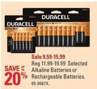 Duracell Selected Alkaline Batteries or Rechargeable Batteries