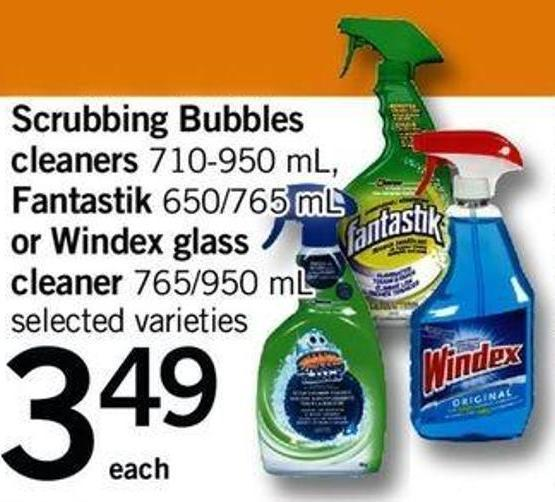 Scrubbing Bubbles Cleaners 710-950 Ml - Fantastik - 650/765 Ml Or Windex Glass Cleaner - 765/950 Ml