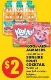 Kool-aid Jammers 10x180 mL or Sunlike Fruit Cocktail 9x300 mL