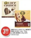 Kind Whole Grain (33g) - Nature's Path Organic (168g - 200g) or Love Crunch (180g) Bars