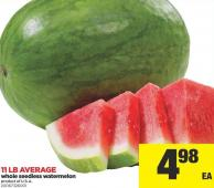 Whole Seedless Watermelon - 11 Lb Average