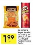 Pringles Super Stacks 130-156 g or Snyder's Of Hanover Pretzel Pieces 240 g