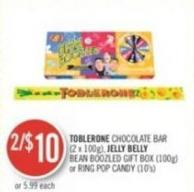 Toblerone Chocolate Bar (2 X 100g) - Jelly Belly Bean Boozled Gift Box (100g) or Ring Pop Candy (10's)