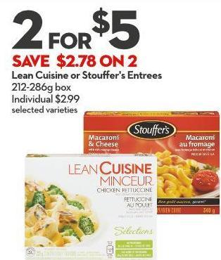 Lean Cuisine or Stouffer's Entrees 212-286g Box