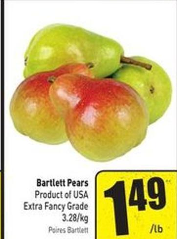 Bartlett Pears Product of USA Extra Fancy Grade 3.28/kg