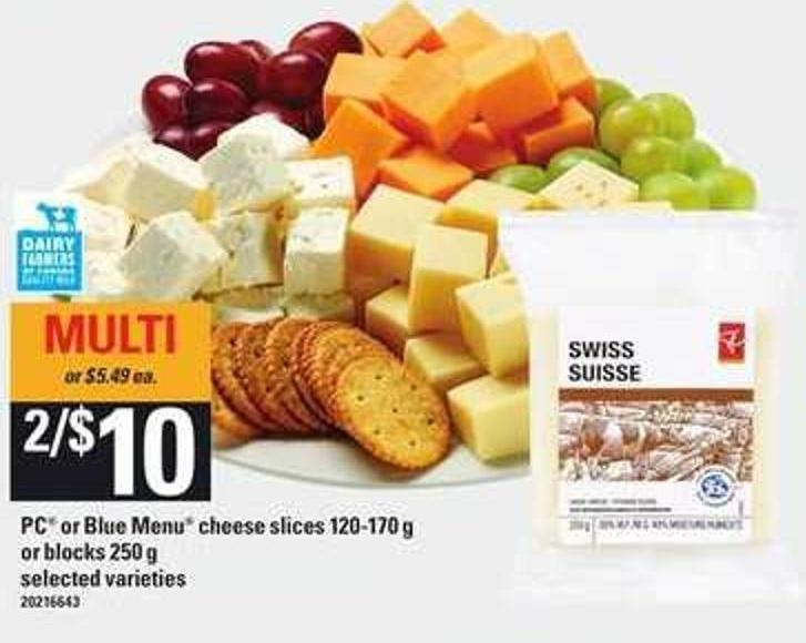 PC Or Blue Menu Cheese Slices - 120-170 g or Blocks - 250 g