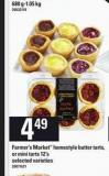 Farmer's Market Homestyle Butter Tarts - Or Mini Tarts - 12's