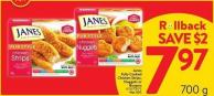 James Fully Cooked Chicken Strips - Nuggets or Burgers 700 g