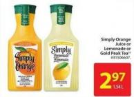 Simply Orange Juice or Lemonade or Gold Peak Tea 1.54 L