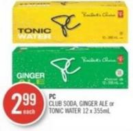 PC Club Soda - Ginger Ale or Tonic Water 12 X 355ml