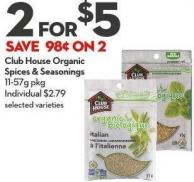 Club House Organic  Spices & Seasonings  11-57g Pkg