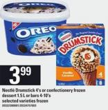 Nestlé Drumstick 4's Or Confectionery Frozen Dessert 1.5 L Or Bars 4-10's