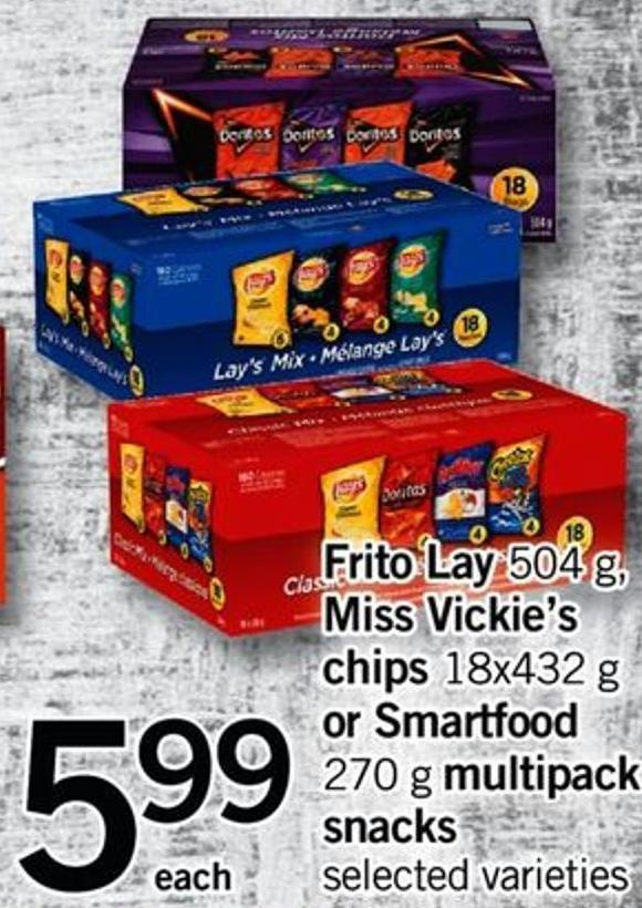 Frito Lay - 504 G - Miss Vickie's Chips - 18x432 G Or Smartfood - 270 G Multipack Snacks