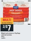 Maple Leaf Wieners Or Top Dogs - 375 g