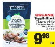 Toppits Black Tiger Shrimp - 31/40 Count Per Lb - 340 G - Frozen