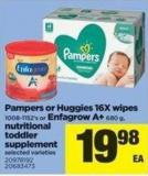 Pampers Or Huggies 16x Wipes - 1008-1152's Or Enfagrow A+ - 680 g - Nutritional Toddler Supplement