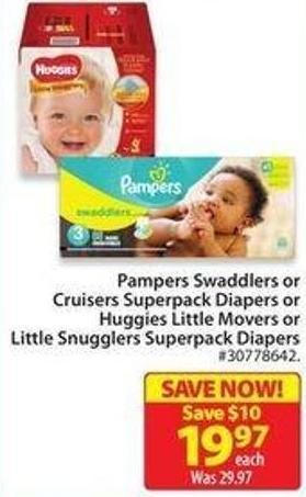 Pampers Swaddlers or Cruisers Superpack Diapers