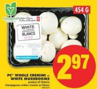 PC Whole Cremini or White Mushrooms.454 g