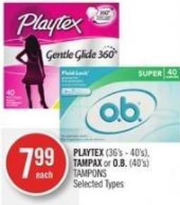 Playtex (36's - 40's) - Tampax or O.b. (40's) Tampons