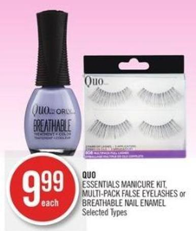 Quo Essentials Manicure Kit - Multi-pack False Eyelashes or Breathable Nail Enamel