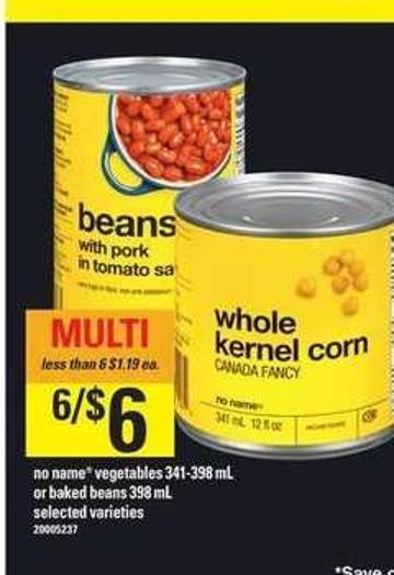 No Name Vegetables 341-398 mL Or Baked Beans 398 mL