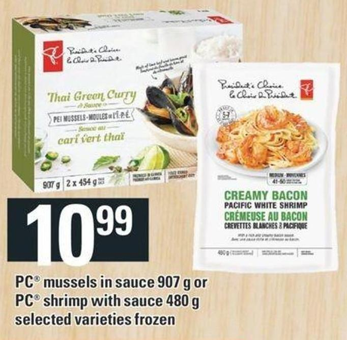 PC Mussels In Sauce 907 G Or PC Shrimp With Sauce 480 G