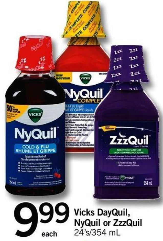 Vicks Dayquil - Nyquil Or Zzzquil - 24's/354 Ml
