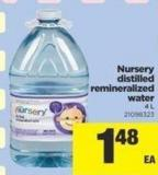 Nursery Distilled Remineralized Water - 4 L